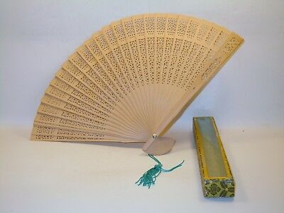 Antique Chinese Sandalwood Wood Carved Reticulated hand Fan Tassel with box