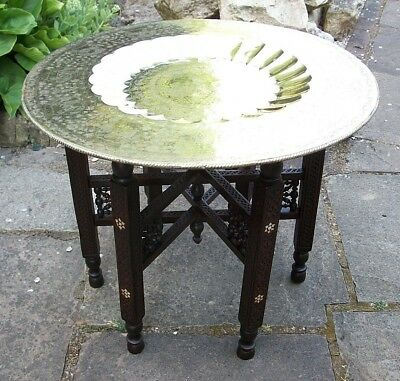 Antique Anglo/indian  Fully Carved  Inlaid Folding Side Table With Brass  Top