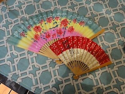"""2 Vintage Asian folding fans Chinese 9"""" and Japanese 6"""" signed"""