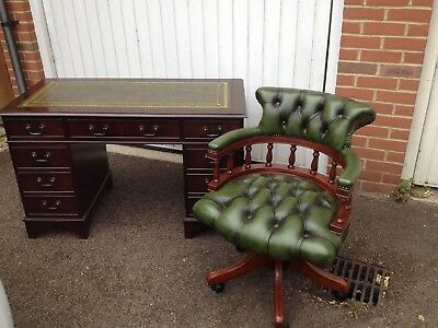 Antique Green Chesterfield Captains Chair & Twin Pedestal Desk with key
