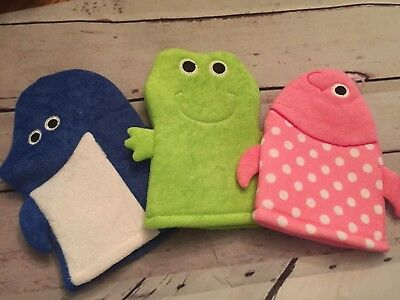 Nwt 3 Bath Puppets Shark Frog Fish Bath Mitts! Free Shipping! Reduced!!