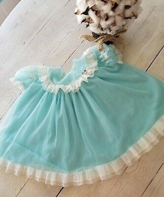 Vintage 1950's baby girls blue sheer chiffon party dress  6-12 mth