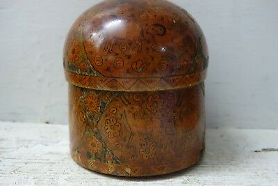 Very Old Hand Painted Lidded Box - Indian Persian Kashmir Interest - Rare - L@@k