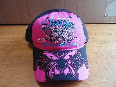 Pink ladies womens Sturgis rally 2016 black hills baseball hat motorcycle 76th