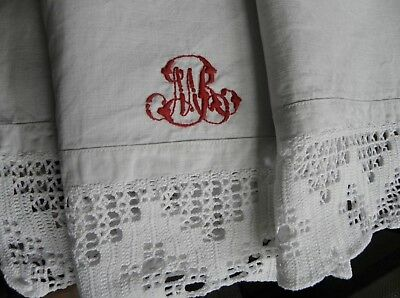 2 Antique French pure linen pillowcases/shams.Red hand embroidered monogram/lace