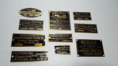 Olds Engine Hit And Miss Gas Mfg Seager International Harvester + Data Plate lot