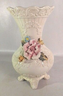 Ornate floral decorated antique capodimonte vase numbered and marked