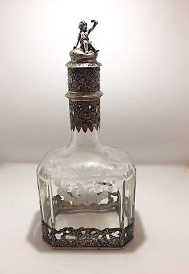 Antique Hanau Germany Silver Mounted Etched Glass Decanter 1890 - 1900