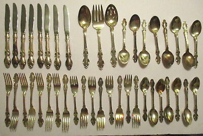 Vintage 42 Pcs REED & BARTON ENGLISH CROWN Silverplate FLATWARE SILVERWARE SET