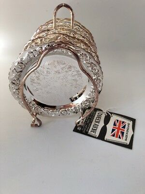 Queen Anne Silver Plated Coaster Set (6 Coasters) Excellent Condition