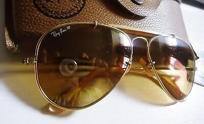 "Vintage 1987 Ray-Ban B&L 50th Anniversary ""The General"" Golden Mirrored Aviator"