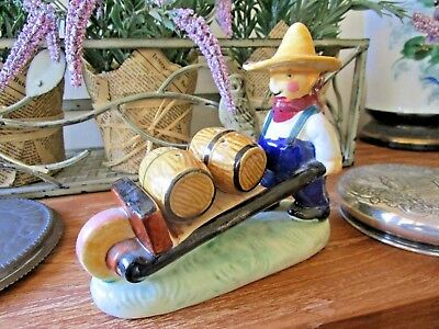 Vintage Collectable Retro kitsch PEPPER & SALT SHAKER - farmer & wheel barrow