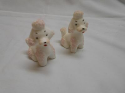 2 vintage miniature small pink and white poodle dogs figures figurines