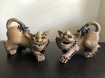 Fine SIGNED Pair Chinese Yixing Clay Pottery Foo Dog Shi Shi Lions Statue Art