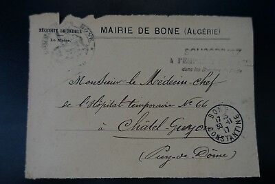 Algeria In Front Of Letter Cover Town Hall Bone 1917 Constantine -> Chatel-Guyon