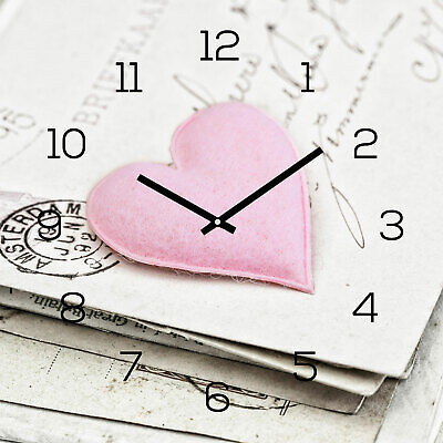 Levandeo Wall Clock Glass 30x30cm Watch Heart Pink Shabby Chic Vintage