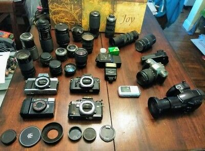 Huge Lot of Vintage 35mm Cameras Untested Minolta Canon Olympus Pentax Lens Part