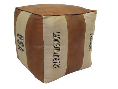 AMEONNA Genuine Leather and Canvas Pouffe/Footstool (OT57)