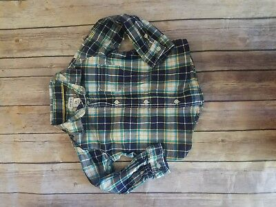Carters Boys Casual Dress Shirt Navy, white, yellow and blue plaid 24 Mos