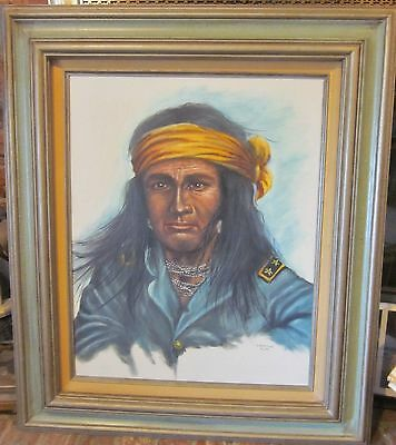 Fine Art Vintage  Oil Painting On Canvas  Proud Native American Indian Warrior