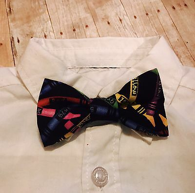 Handmade Baby toddler Boys Clip On Bow Tie Color Crayon Cute Suit Back To School