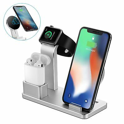 Stand Charger Dock Holder 4 in 1 Aluminum For Apple Watch For Air pods iPhone US