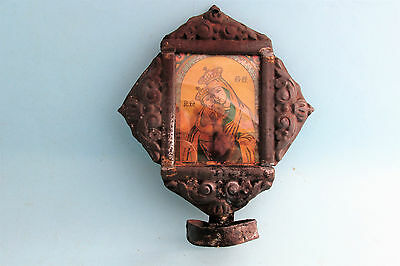 ANTIQUE VERY Old  Orthodox iconostasis print icon of Virgin Mary & Child