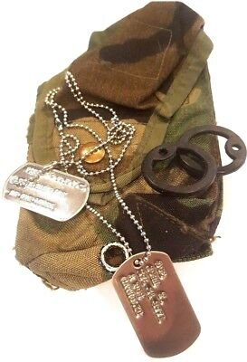 Shiny Military Personalized Dog Tags & Chain & Silencers Official Gi Army / Usmc