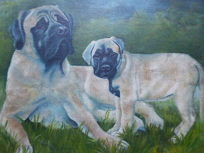 Oil On Board Two Cute Bull Mastiffs Artist Paul Chapman Free Shipping To England