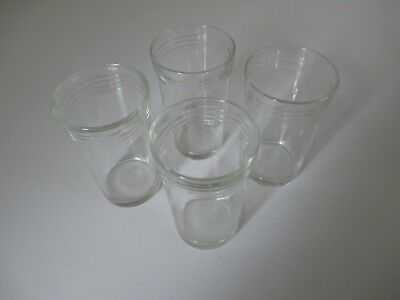 Set of 4 VINTAGE Glasses Small Size 95mm | Possibly from Jam Vegemite Condiments