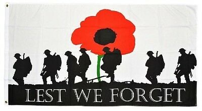 Lest we forget flag Australian ARMY NAVY RAAF diggers ANZAC soldiers poppy flag
