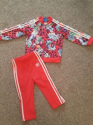 baby girls ADIDAS full tracksuit, floral print, sweet on...age 12/18 months.