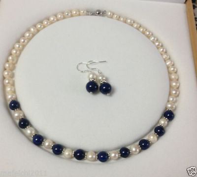 Charming!White Akoya Cultured Pearl/Lapis Lazuli necklace earrings set