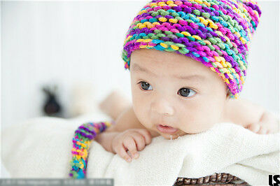 Newborn Colorful Hat Photo Props For Baby Crochet Knit Toddler Photography