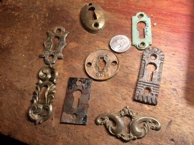 9 Assorted ANTIQUE Ornate Floral Beaded BRASS OVAL KEY HOLE COVERS Escutcheons