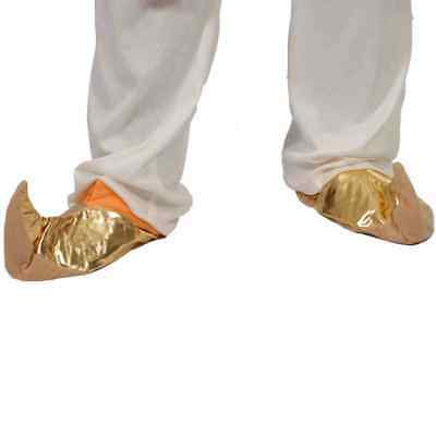 Pair of Gold Genie Slippers Shoes Pantomime Middle Eastern Fancy Dress Item