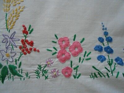 Stunning Very Good Quality Vintage  Cotton Hand Embroidered Tablecloth
