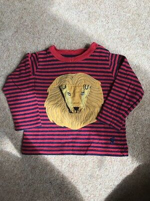 Baby Joule Joules Striped Long Sleeved T Shirt Stripey Lion Flap Red 3-6 Months
