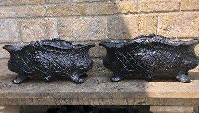 Two Antique French Cast Iron Jardinieres / Planters
