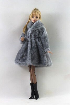 Lovely Fashion Winter fur Coats Clothes+Shoes+Socks For Barbie Doll Q17