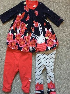Catimini Rabbit Dress With Matching Tights And Leggings 3m - Worn Once