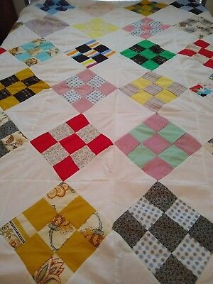 """Vintage HAND SEWN 9-Patch Quilt Top CUTE FABRICS MULTI-COLOR 84 X 94"""""""