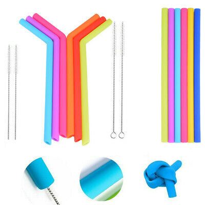 6Pcs Silicone Straight Drink Straws Reusable Food Grade & 2Pcs Cleaning Brush