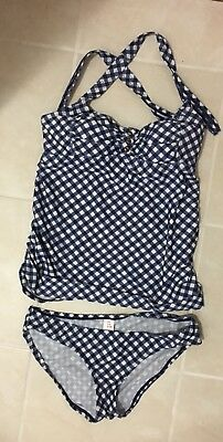 Two Hearts Maternity Two Piece Bathing Suit Blue White Plaid Size Small Tanki