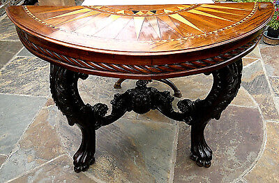 "c1870 Antique Specimen Wood Demi Lune Hall Console Table 55"" by 21"" Height 34.5"""