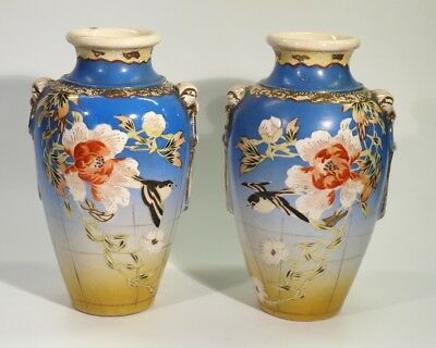 Pair of Antique Japanese Satsuma Pottery Vases Circa 1900.