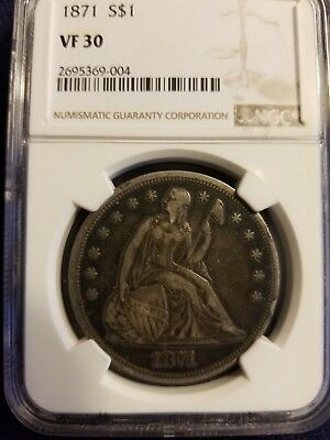 1871 Seated dollar, NGC VF30