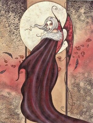 Amy Brown Mini Lithograph Print Fairy An Ill Wind Vampire Girl Fangs Wings New