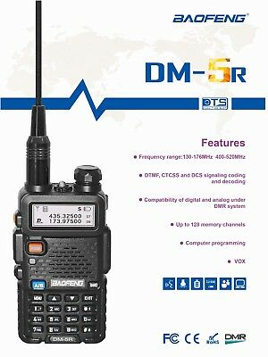 Baofeng DM-5R 2018 Ver Digital Tier-II DMR Dual Band Amateur Ham Radio Digital