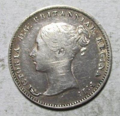 Great Britain, 3 Pence, 1865, Very Fine, Neat Die Break on Obverse, Silver